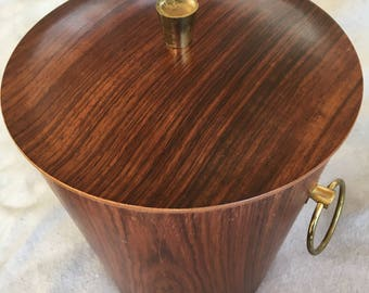 Mid Century Rosewood Ice Bucket with Aluminum Insulated Liner
