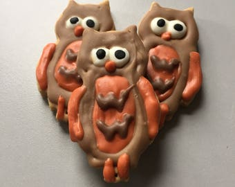 Fall Owls - Peanut Butter Owl Cookies for Dogs - All Natural -  Set of 3 Treats - Fall Animals - Autumn Seasonal Shape - Autumn