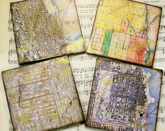 Historical Chicago Grid Map Coasters, Historical Map Coasters, Chicago Circa 1920-1940, Antiqued Map, Set of 4, Decoupage Wood Coasters