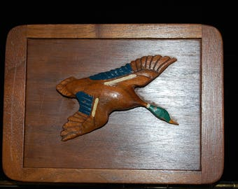 Vintage Cigarette Box 1950's Vintage Carved Wooden Duck Handle on Lid Walnut Wood Cigarette Box