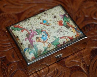 Pill box 1970's vintage pill box saccharine tablets holder tapestry fabric cover