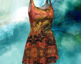 Fit and Flare Dress - Horses Caught in the Thunderstorm Batik