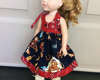 """Cowgirl dress, bottoms and boots, 14"""" doll clothes for Wellie Wisher"""