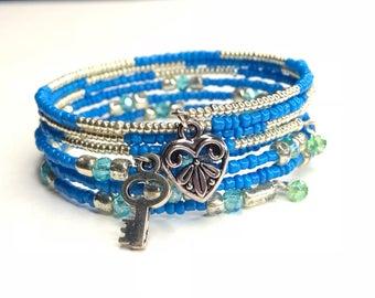 Ocean Blue Memory Wire Bracelets