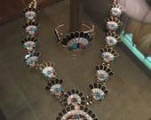 Vintage squash blossom necklace and bracelet