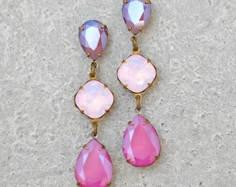 Pink Ombre Rainbow Earrings Swarovski Crystal Fiesta Dangle Earrings Burgundy Pink Opal Peony Pink Stud Post Clip On Dangle Earrings Bride