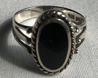 Sterling Silver Onyx Ring-Size 8