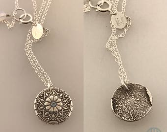 Mandala Fingerprint Pendant necklace, Two tone, Sterling Silver, 14K GF