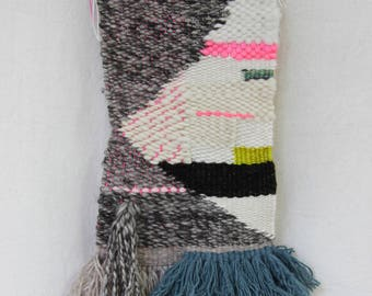 asymmetrical white diamond weaving, hot pink and brights weaving woven wall hanging