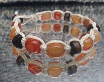 Gemstone Beaded Hemp Bracelet