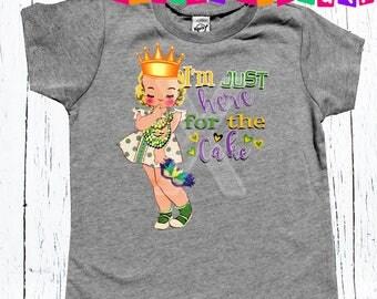 Mardi Gras I'm just here for the cake girls Mardi Gras tee shirt, Mardi Gras outfit, Mardi Unisex tee shirt, girls clothing