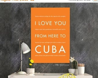 fathers day sale cuba art cuba poster travel gift caribbean island home decor i love you from here to cuba orange wall art - Island Home Decor