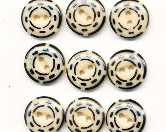 Vintage Antique China Stencil Buttons - Lot of 12 Black and Cream   - size 9/16 inch