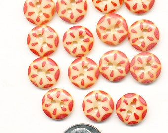 Vintage Antique China Stencil Buttons - Lot of 15 Orange  on Cream   - size 7/16 inch