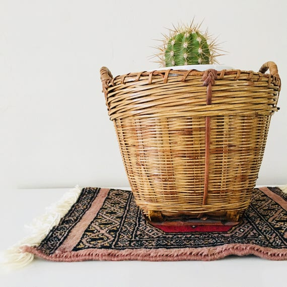 Vintage Woven Rattan Bamboo Basket Planter Rustic Woven Wicker Plant Holder Boho Decor