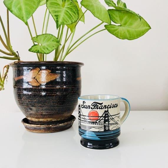 Vintage San Francisco Coffee Mug 80s Ceramic Golden Gate Bridge Speckled Stoneware San Francisco Sunset Coffee Cup