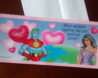 Captain Planet Valentine Card - Vintage 1990 - FREE SHIPPING