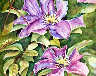 Clematis Flowers Original Watercolor Painting, purple, violet, green, flowers, matted to 11x14, floral, botanical, wall art