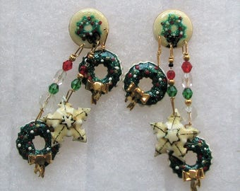 Lunch At The Ritz Christmas Wreath Earrings POST