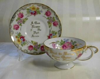 Vintage Inspirational, Floral Bouquet, Daily Message Teacup