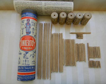 Vintage TINKERTOY BUILDING SET in Original Tube Mailer with Instructions