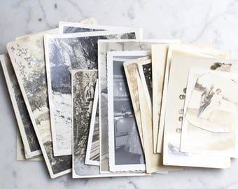 Lot of 22 Vintage Antique Black and White Photographs | Family Photos, Couple Portraits with Free US Shipping