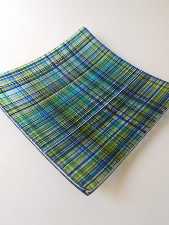 Plaid Blue and Green Glass Serving Dish
