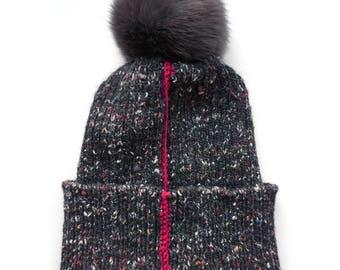 Handmade Knitted Hat / Pom Pom Hat / Fur Pom Pom Hat / Real Fur Pom Pom Hat