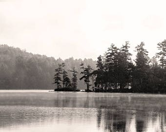 Black and White Landscape, Lake Photography- Foggy Morning, Squam Lake, NH,  soft, misty, smooth, wintery, original fine art