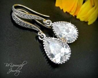 White Crystal Bridal Earrings Teardrop Bride Earrings Cubic Zirconia Wedding Earrings Wedding Jewelry Bridesmaid Gift CZ Bridal Accessories