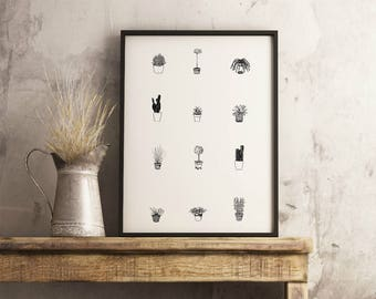 "Potted Plants Print |  14"" x 18"" Illustration 
