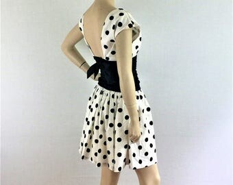 Vintage early 80s black and white polka dot mini dress / 1980s short party cocktail dress - small