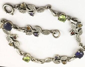 Sterling Silver  Multi-Gemstone Bracelet: Iolite-Garnet-Amethyst-Peridot. Leaf Pattern.