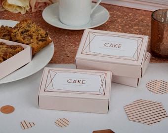 Blush Pink and Rose Gold Wedding Cake Boxes