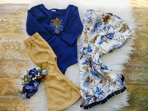 Baby Girl Kimono, Girls Cardigan, Blue and Gold Cover up, Pom Pom Kimono, Toddler Spring Outfit, Bithday Outfit, Boho Clothing