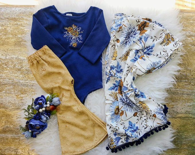 Featured listing image: Baby Girl Pom Pom Blue and Gold Floral Kimono