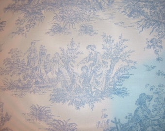 "Blue  and White Toile fabric with Traditional  Designs-13 1/2"" x 61"""