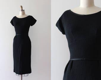 vintage 1950s dress // 50s 60s black wool wiggle dress