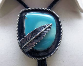 Huge Turquoise Native American Sterling Silver Bolo Tie, Vintage Bolo Tie