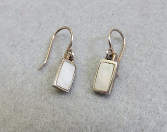Vintage Sterling Silver and Mother of Pearl Petite Pierced Earrings