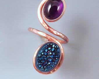 Amethyst and Druzy Agate- Purple and Blue- Double Stone- Adjustable Copper Ring