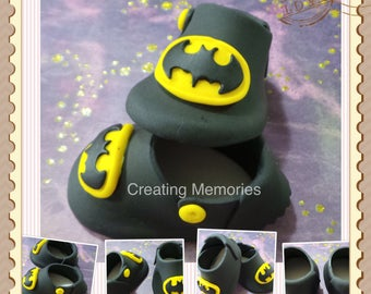 Superhero Baby Shoes - Cake Topper Made of Vanilla Fondant boy or girls ready to place on your cake or table center piece