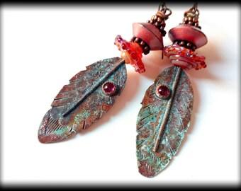 Rustic, Feather, Artisan Copper Headpins, Garnet, Artisan Lampwork Earrings, Beaded Earrings, Earthy