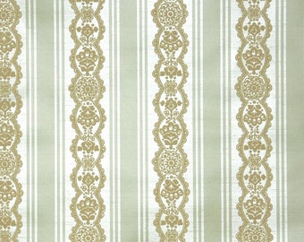 Retro Flock Wallpaper by the Yard 70s Vintage Flock Wallpaper - 1970s  Green and Cream stripe with Gold Flocked Lace