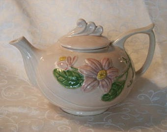 Vintage Serving Hull Art U.S.A. H-20- 6 Glossy Pink Magnolia Teapot Tea Pot Made in USA 1940's