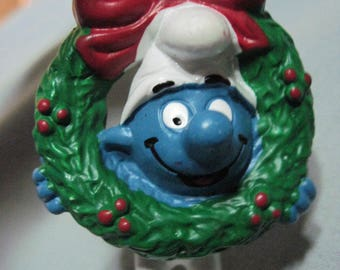 ON SALE!!! Vintage Christmas Ornament Smurf with Wreath...1981...Portugal...Peyo....RARE