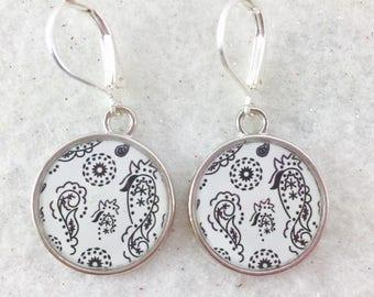 Black and White Bandanna Earrings, Festival Earrings, Bandanna Jewelry, Summer Dangle Earrings, Paisley Earrings, White and Black Earrings