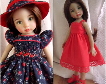 "Smocked Doll Dress & Hat Outfit for 13"" Little Darling Wiggs BJD-Cotton Lawn-Juried Stitchery Artist-Free US Ship"