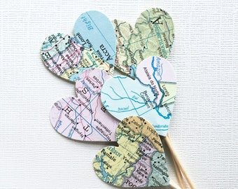 Pastel  Map Heart Cupcake Toppers, Party Decor, Travel Theme, Double-Sided, Graduation, Weddings, Showers, Birthdays, Atlas, Set of 15
