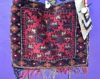 Rare tribal carpet ethnic one of a kind Antique hand woven Afghanistan baluchi shoulder bag with handsewn embellishments